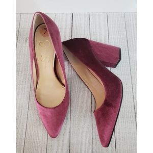 Jessica Simpson Burgundy Velvet Chunky Heel Pumps